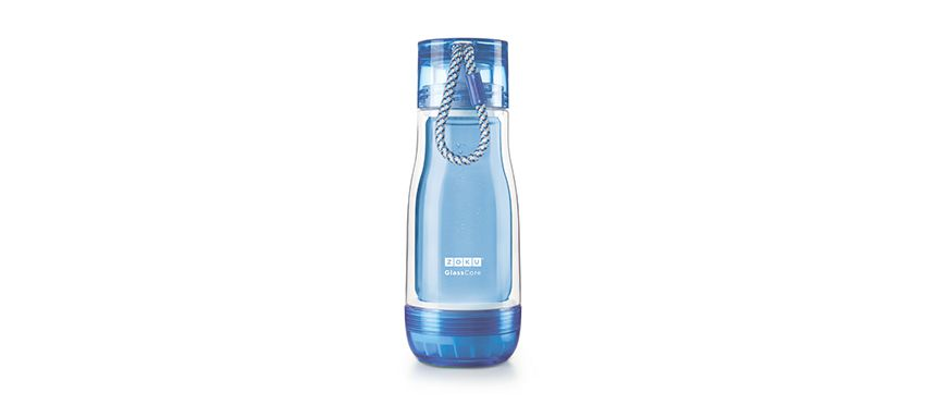 美國 ZOKU 繽紛玻璃雙層隨身瓶 355ml (藍)