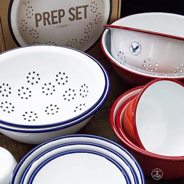 英國 Falcon 獵鷹琺瑯 調理盆 料理碗 瀝水盆6入組 (藍白)1