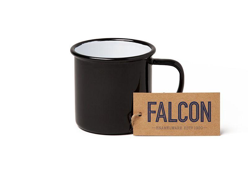 英國 Falcon 獵鷹琺瑯 馬克杯 350ml (黑白)