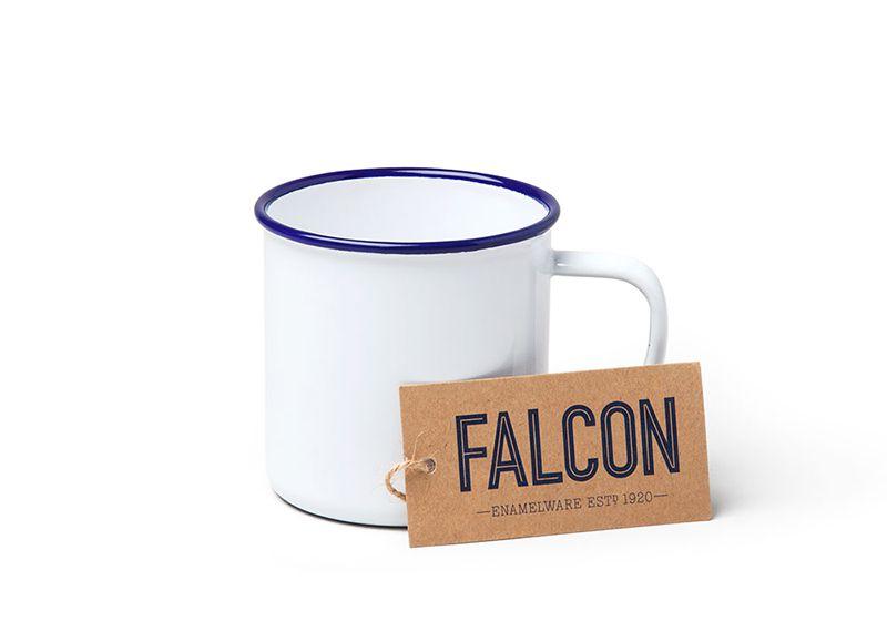 英國 Falcon 獵鷹琺瑯 馬克杯 350ml (藍白)