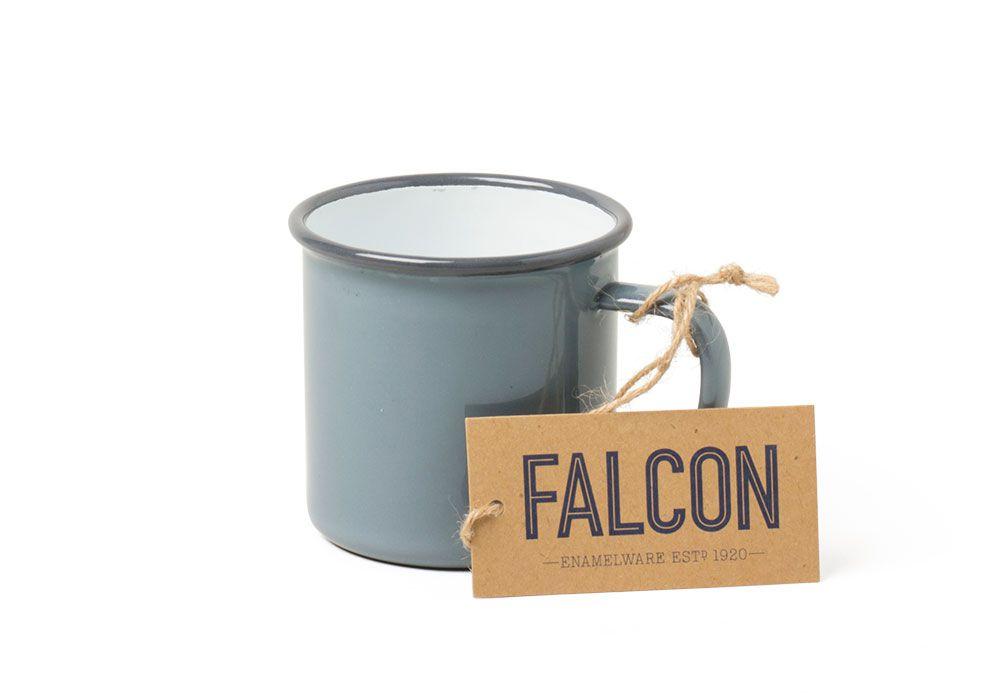 英國 Falcon 獵鷹琺瑯 馬克杯 350ml (灰白)