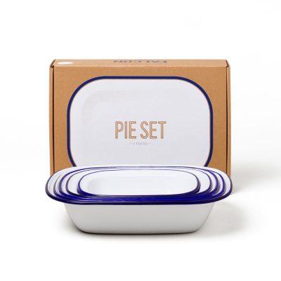 英國 FALCON 獵鷹琺瑯方形烤盤 5件組 (藍白)