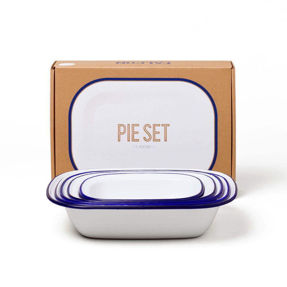 英國 Falcon 獵鷹琺瑯方形烤盤 5件組 藍白