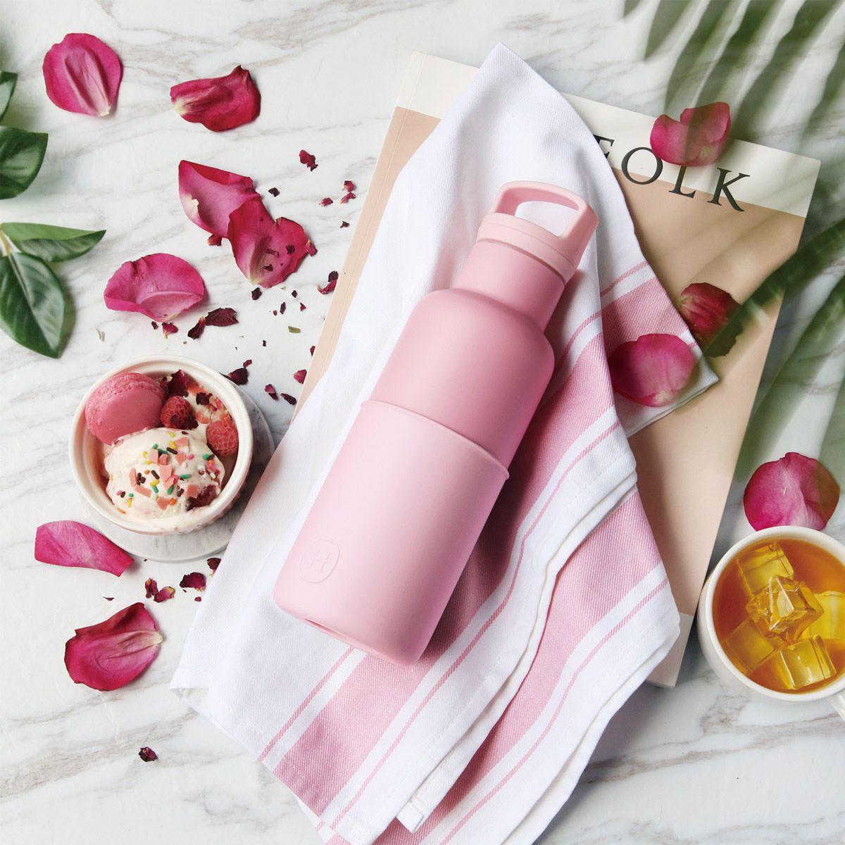 美國 HYDY 時尚不銹鋼保溫水瓶 480ml 玫瑰粉瓶 (太妃)