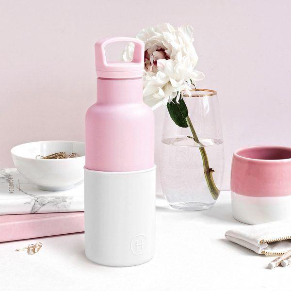 美國 HYDY 時尚不銹鋼保溫水瓶 480ml 玫瑰粉瓶 (雪白)