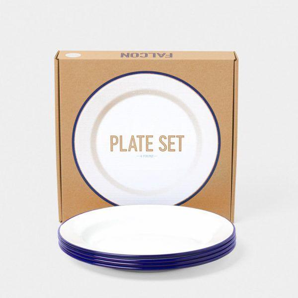 英國 Falcon 獵鷹琺瑯 圓形餐盤4入組 24cm (藍白)