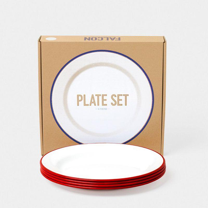 英國 Falcon 獵鷹琺瑯 圓形餐盤4入組 24cm (紅白)