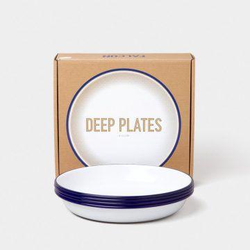 英國 Falcon 獵鷹琺瑯 圓形深餐盤4入組 22cm (藍白)