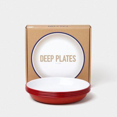 英國 Falcon 獵鷹琺瑯 圓形深餐盤4入組 22cm (紅白)