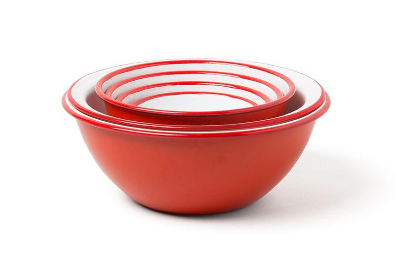 英國 Falcon 獵鷹琺瑯 調理盆 料理碗 瀝水盆6入組 (紅白)