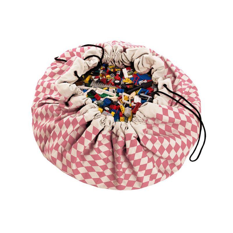 比利時 play & go 玩具整理袋 (菱格粉)