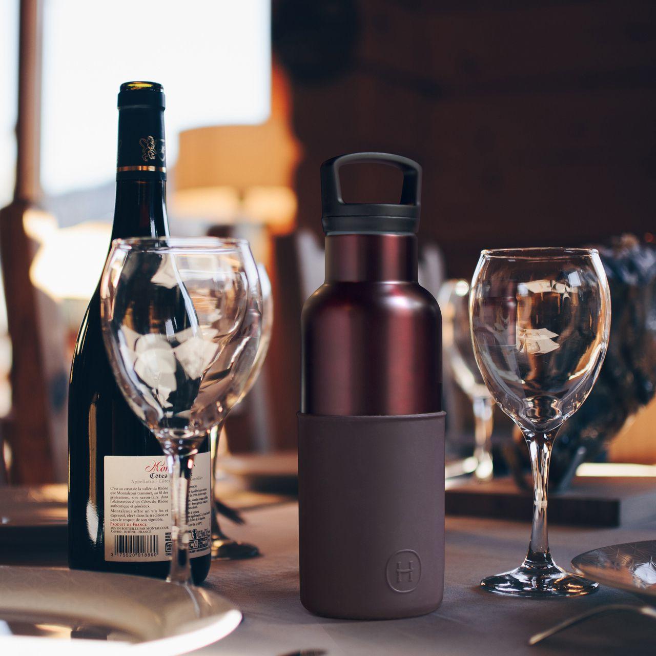 美國 HYDY 時尚不銹鋼保溫水瓶 480ml 勃根地紅瓶 (櫻桃紅)