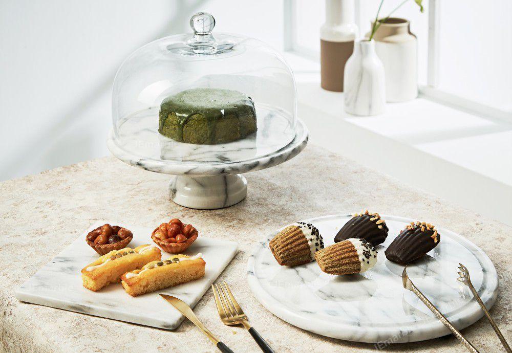 JEmarble 天然大理石 11吋半保鮮盤 / 蛋糕盤 (加大升級版)