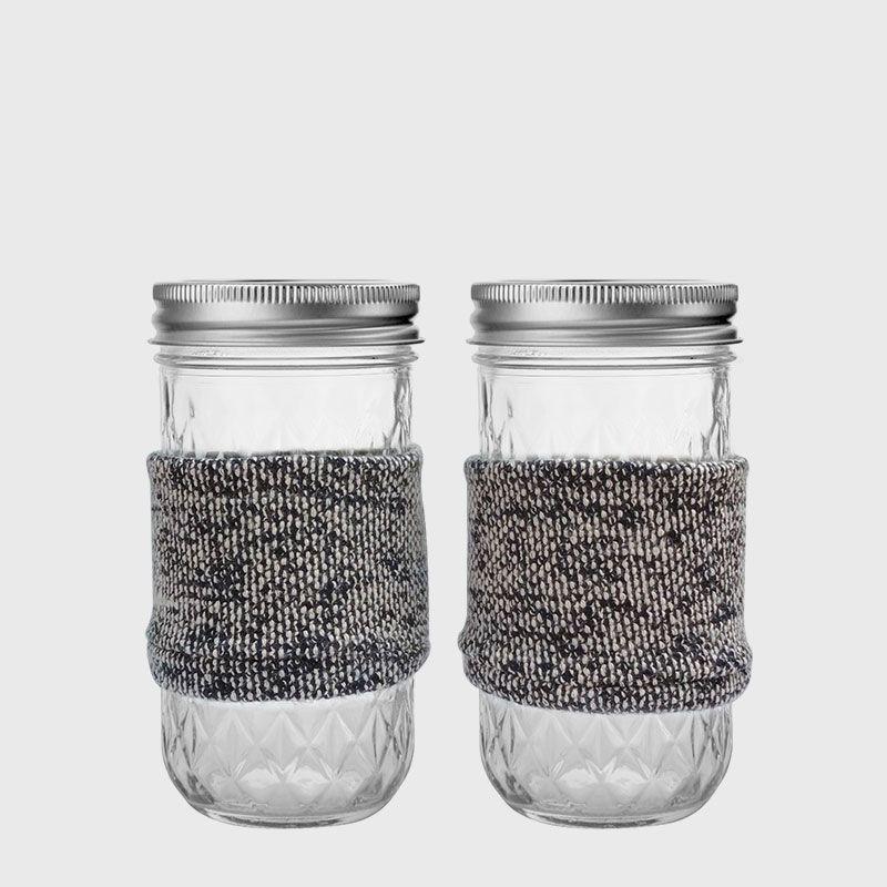 Ball 梅森罐 冬日暖手熱飲專用杯2入組 (12oz菱格窄口)