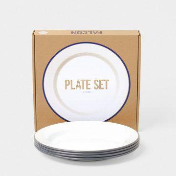 英國 Falcon 獵鷹琺瑯 圓形餐盤4入組 24cm (灰白)