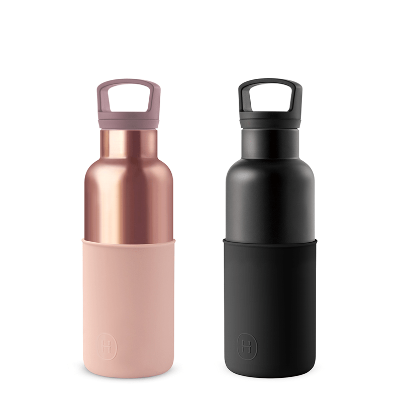 美國 HYDY 時尚不銹鋼保溫水瓶輕巧雙瓶組 黑瓶油墨黑+蜜粉金瓶拿鐵