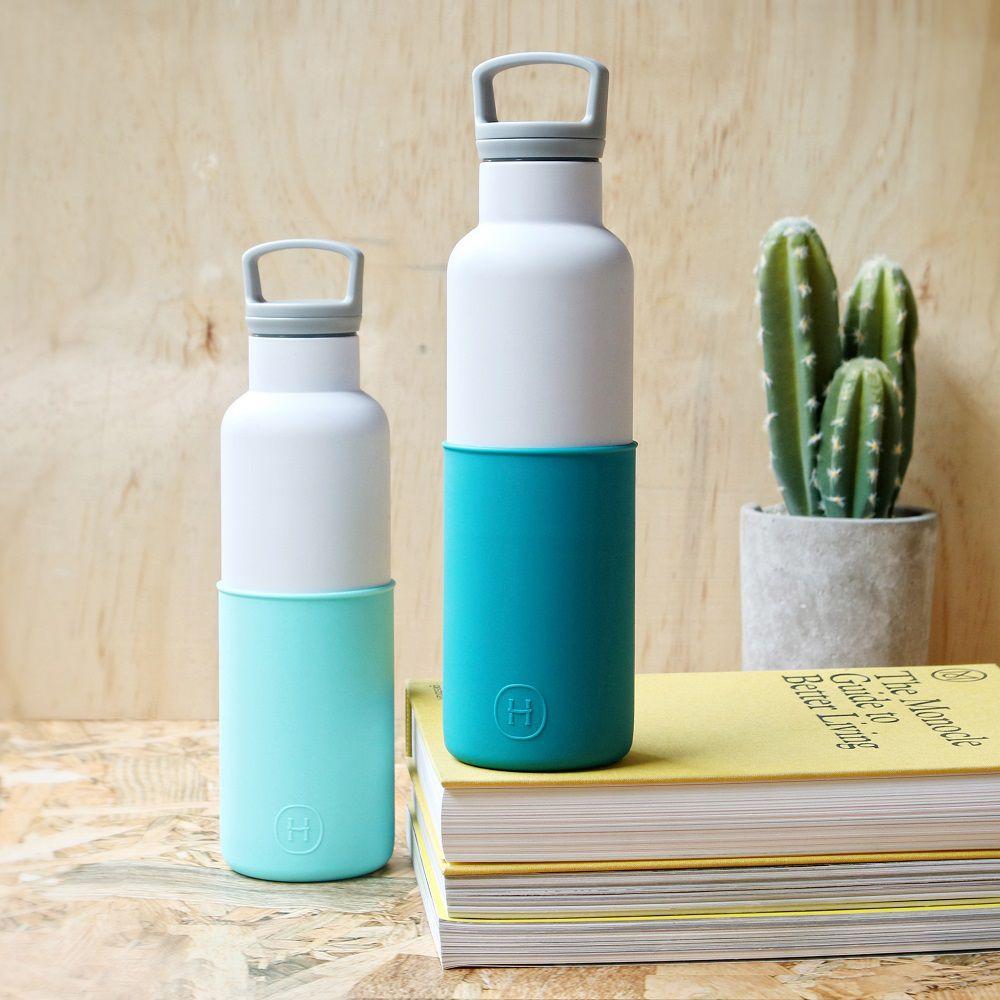 美國 HYDY 時尚不銹鋼保溫水瓶雙瓶組 (白瓶北極藍+白瓶深青)