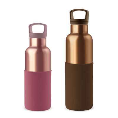美國 HYDY 時尚不銹鋼保溫水瓶雙瓶組 古銅金瓶摩卡+蜜粉金瓶酒紅