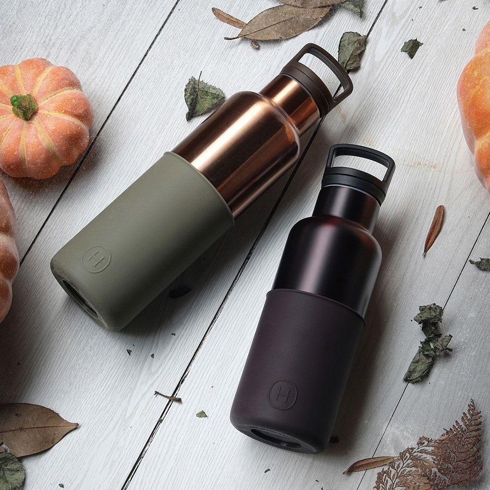 美國 HYDY 時尚不銹鋼保溫水瓶雙瓶組 金瓶海藻綠+勃根地紅瓶櫻桃紅
