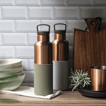 美國 HYDY 時尚不銹鋼保溫水瓶雙瓶組 金瓶雲灰+金瓶海藻綠