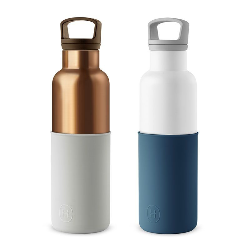 美國 HYDY 時尚不銹鋼保溫水瓶雙瓶組 金瓶雲灰+白瓶海軍藍