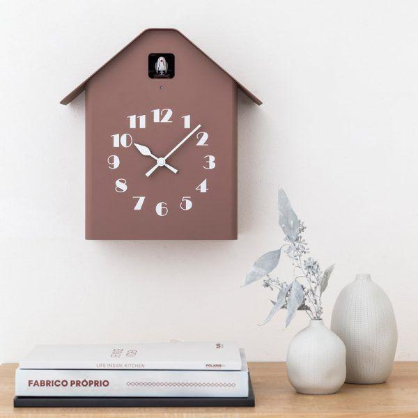 日本 Lemnos 雕刻時鐘 房型布穀鳥時鐘 (褐)
