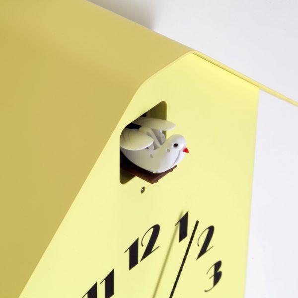 日本 Lemnos 雕刻時鐘 房型布穀鳥時鐘 (黃)