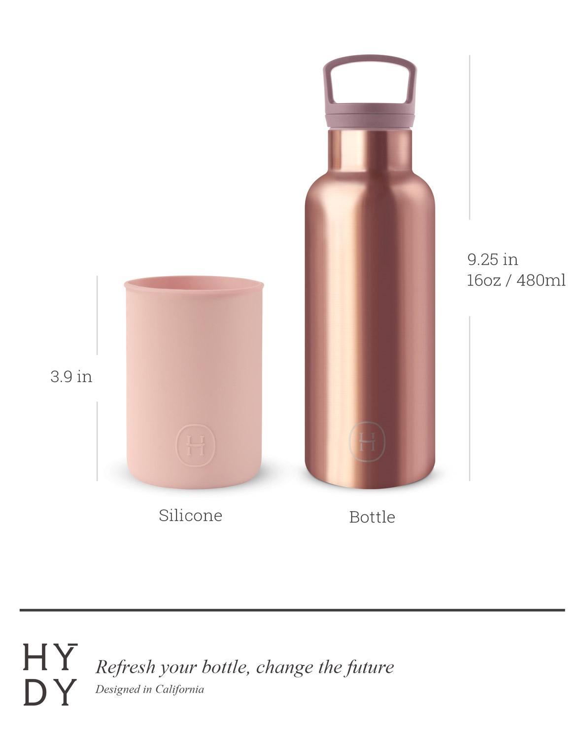 美國 HYDY 時尚不銹鋼保溫水瓶 480ml 蜜粉金瓶 (拿鐵)