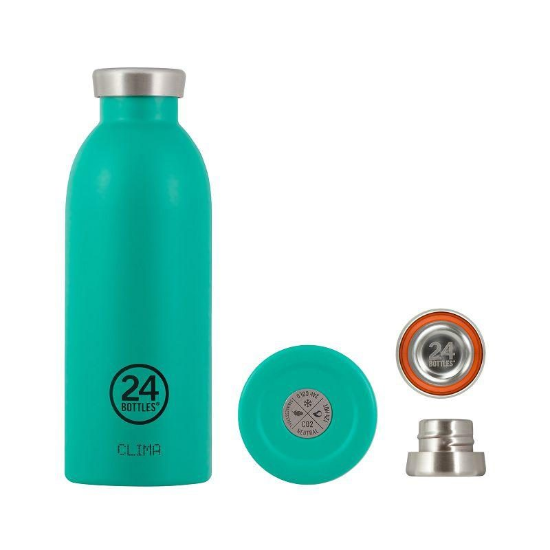 義大利 24Bottles 不鏽鋼雙層保溫瓶 500ml (海灣藍)
