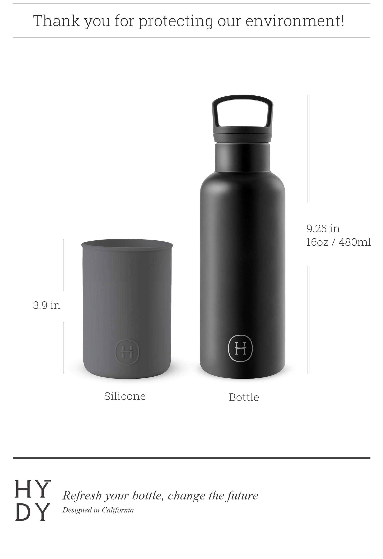 美國 HYDY 時尚不銹鋼保溫水瓶 480ml 黑瓶 (鐵灰)