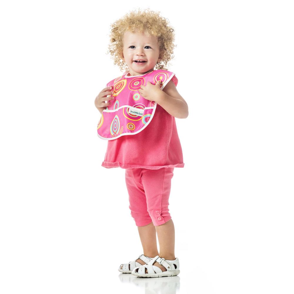 美國 Bumkins 防水圍兜兜三件組 粉紅蝴蝶組