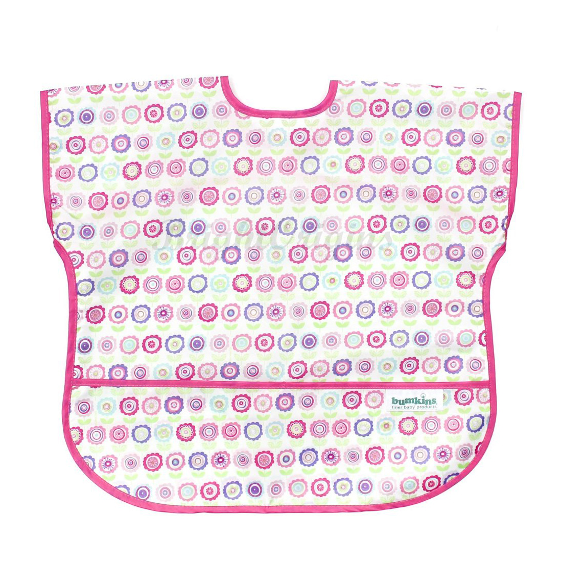 Bumkins 防水短袖圍兜兜 粉紅點點款