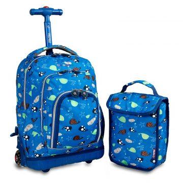 美國 JWorld 拉桿後背兩用書包旅行箱 海洋世界款 加贈午餐袋