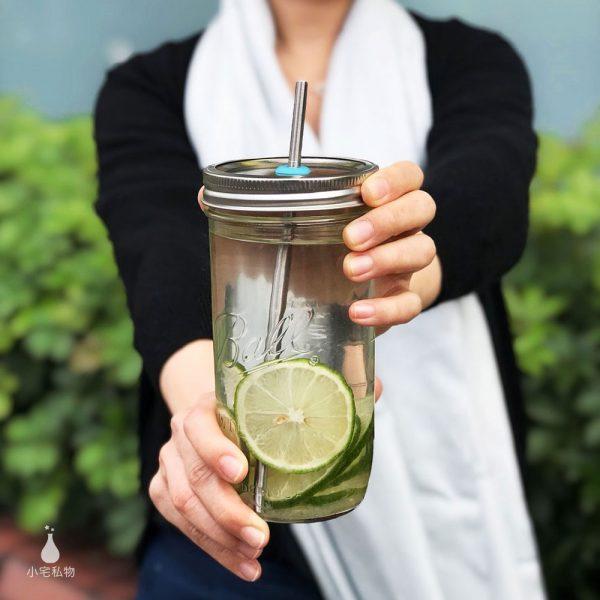 美國 Ball 梅森罐 繽紛吸管孔飲料杯組 寬口系列