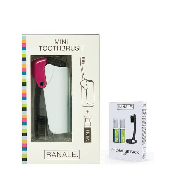 義大利 BANALE 隨身旅用牙刷組 (透明&Purple + 補充包)