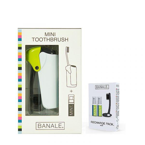 義大利 BANALE 隨身旅用牙刷組 (透明&Green + 補充包)