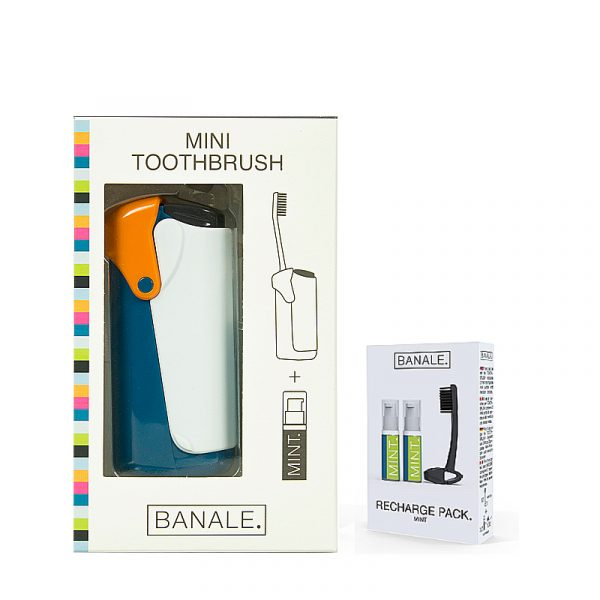 義大利 BANALE 隨身旅用牙刷組 (ORANGE + 補充包)
