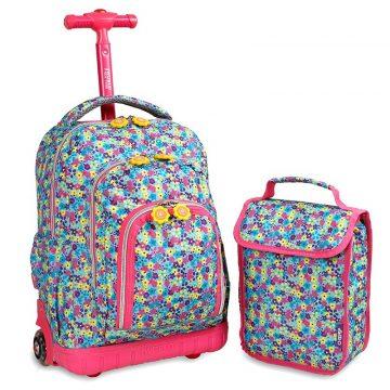 美國 JWorld 拉桿後背兩用書包旅行箱 繽紛花園款 加贈午餐袋