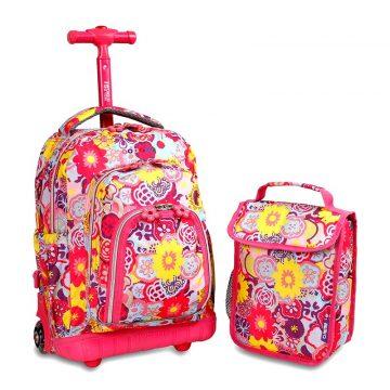 美國 JWorld 拉桿後背兩用書包旅行箱 花花世界款 加贈午餐袋