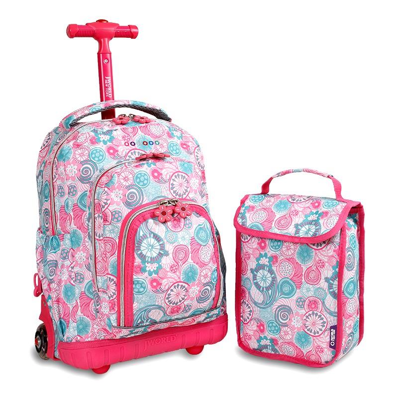 美國 JWorld 拉桿後背兩用書包旅行箱 藍調野莓款 加贈午餐袋