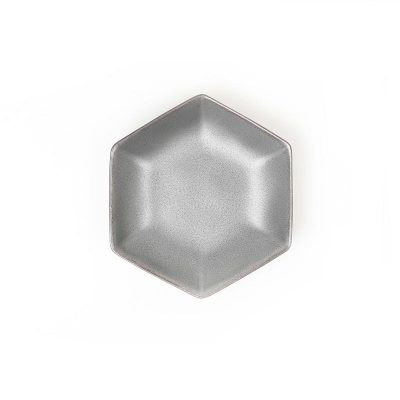 kihara_黑砂釉六角小皿