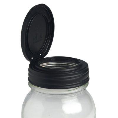 美國 reCAP Flip 梅森罐專用 窄口多功能杯蓋 黑色