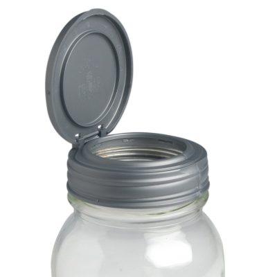 美國 reCAP Flip 梅森罐專用 窄口多功能杯蓋 銀色