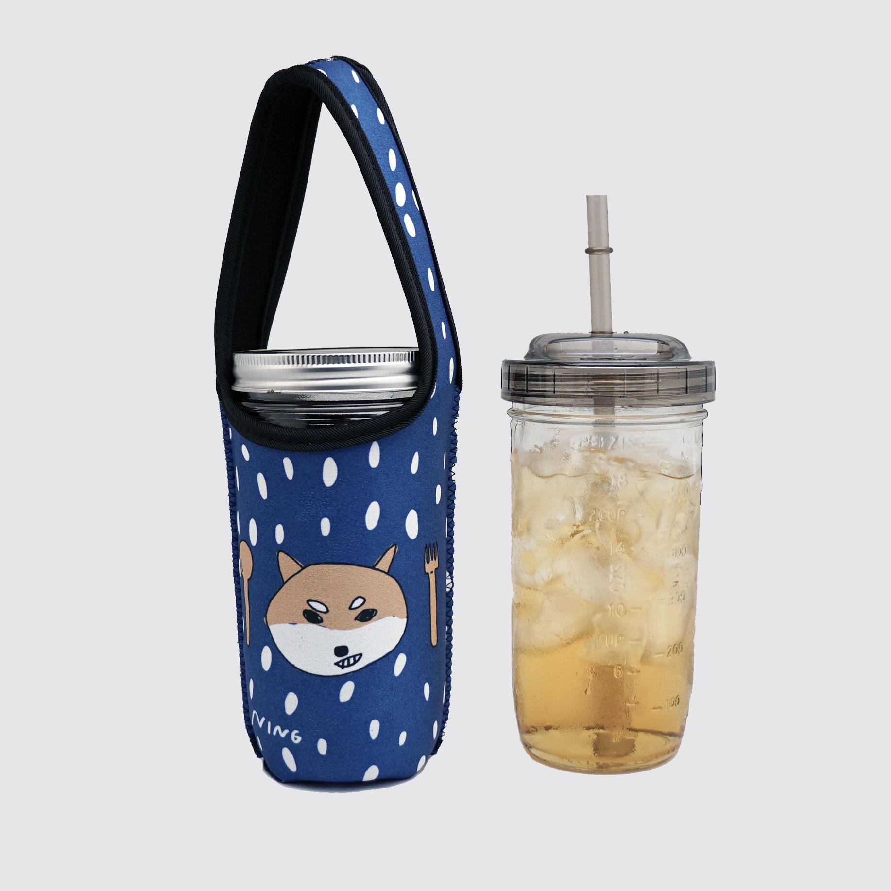 BLR 24oz梅森罐搖搖飲料杯袋組 藍底柴犬