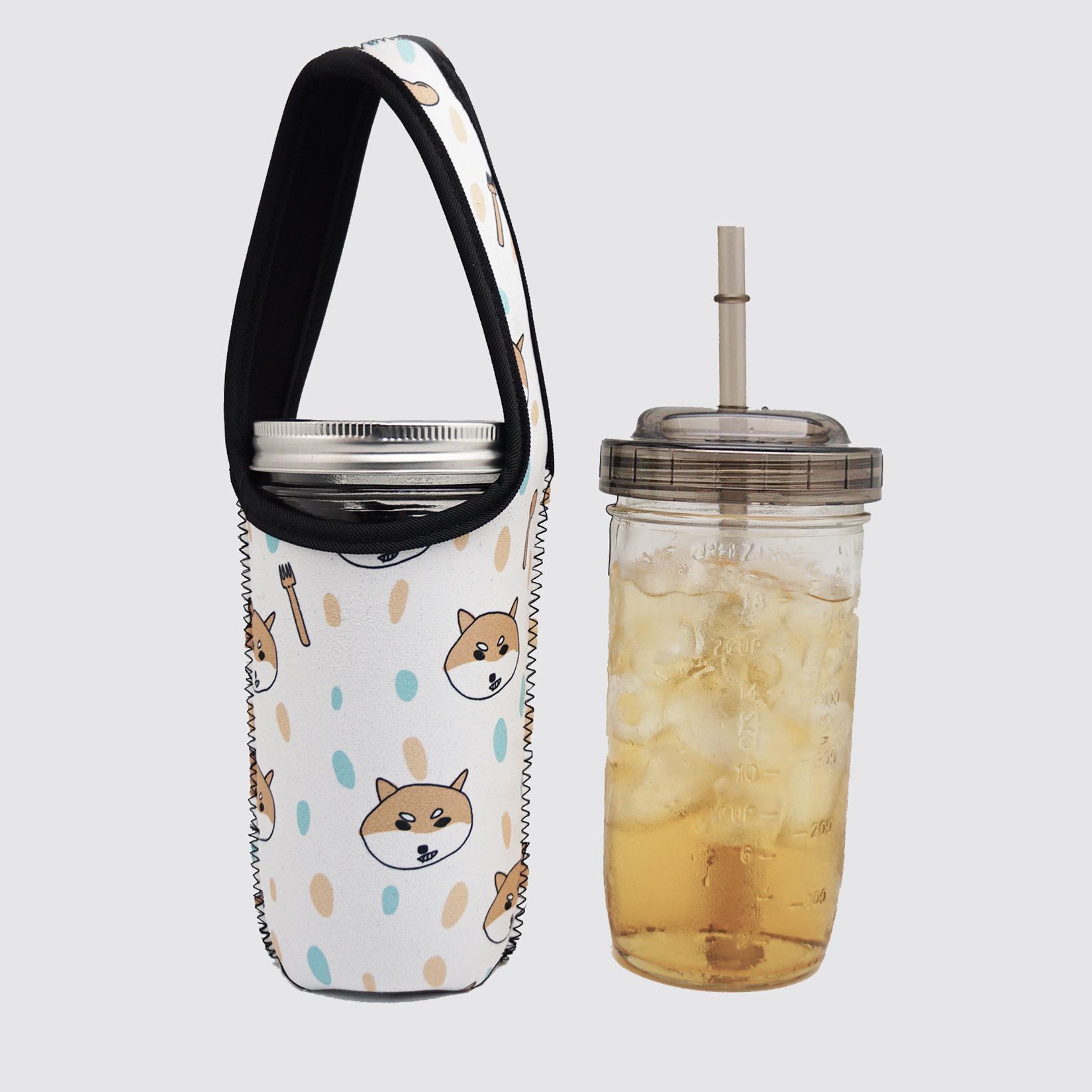 BLR 24oz梅森罐搖搖飲料杯袋組 米色底柴犬