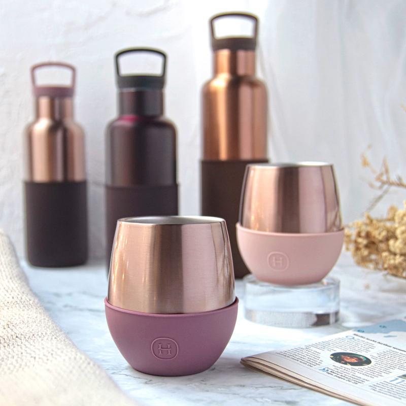 美國 HYDY 蜜粉金杯瓶組 (優雅雙層隨行保溫杯 蛋型杯 + 蜜粉金瓶)