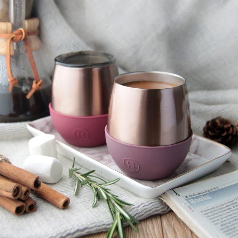 美國 HYDY Delicia 優雅雙層隨行保溫杯 蛋型杯 蜜粉金杯 (乾燥玫瑰)