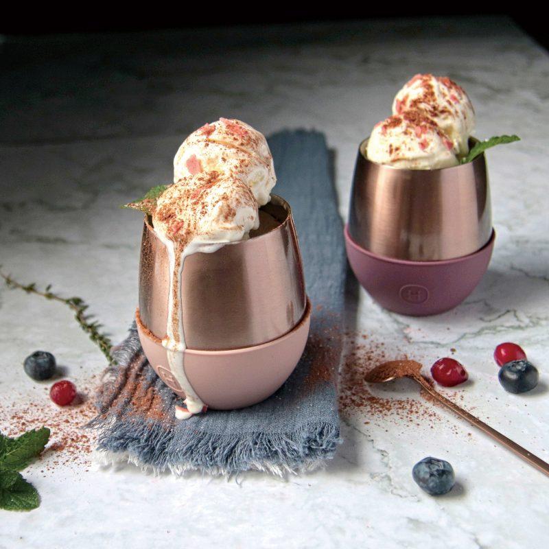 美國 HYDY Delicia 優雅雙層隨行保溫杯 蛋型杯 蜜粉金杯 (拿鐵)