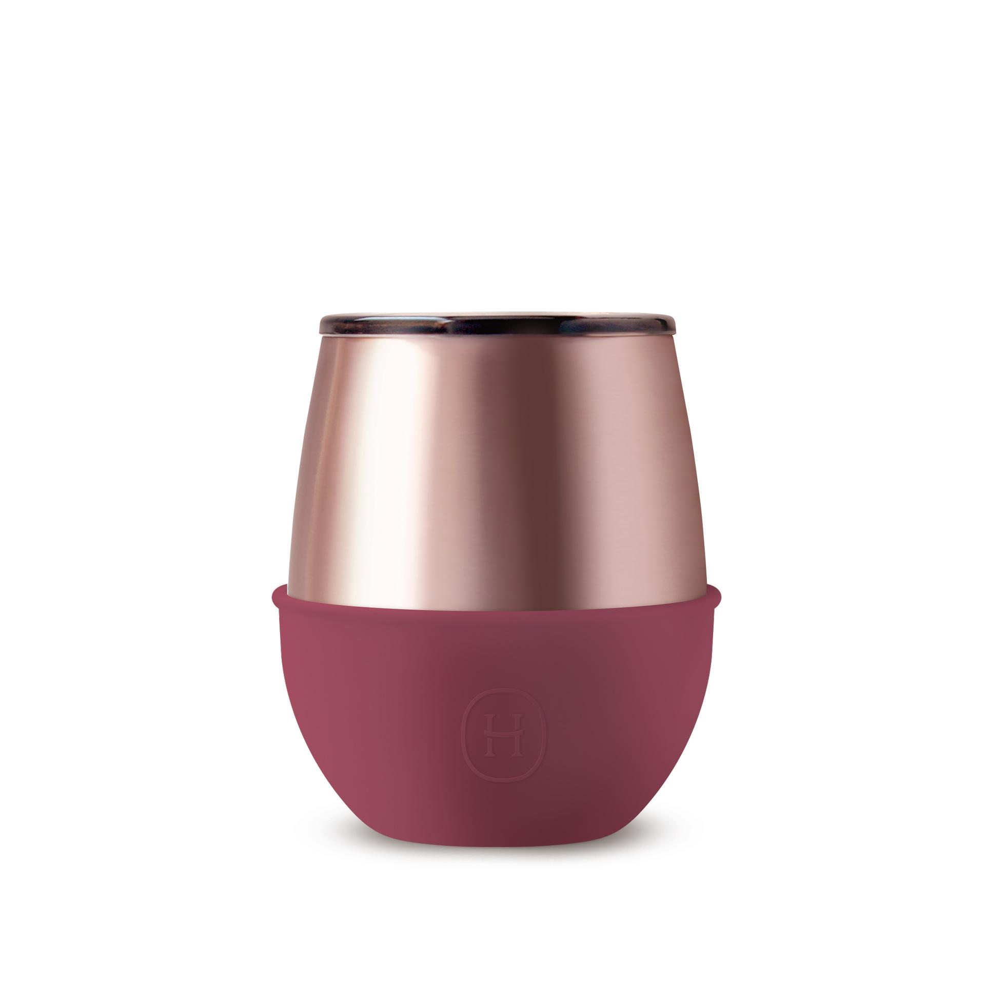 美國 HYDY Delicia 優雅雙層隨行保溫杯 蛋型杯 蜜粉金杯 (桑格莉亞)