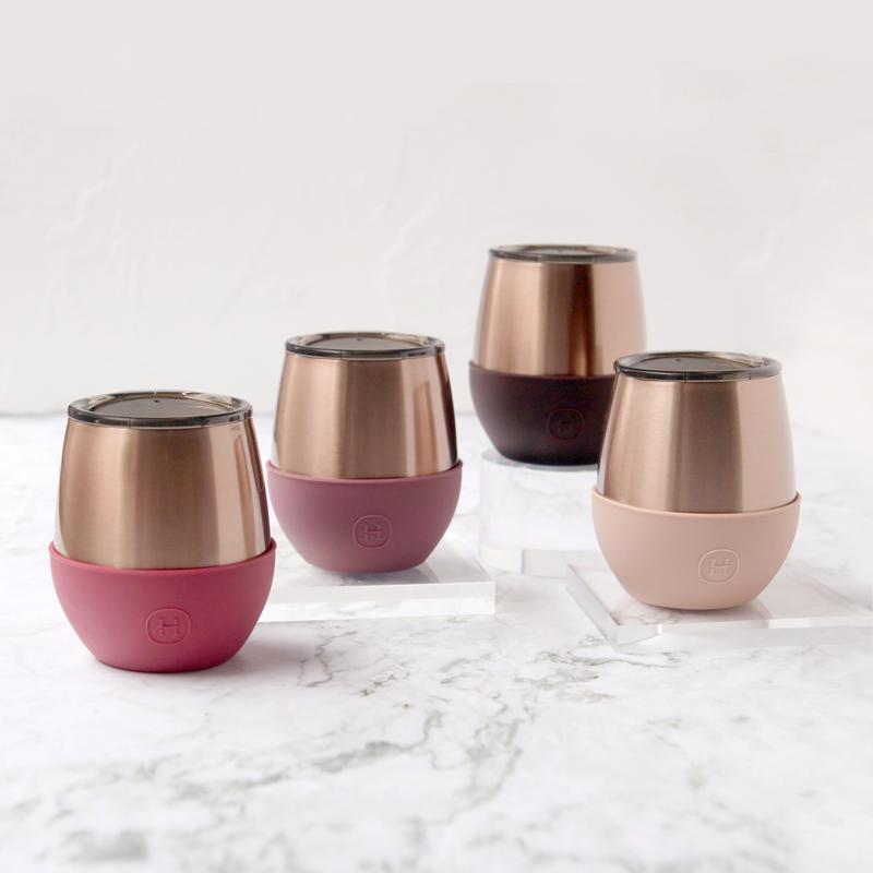 美國 HYDY Delicia 優雅雙層隨行保溫杯 蛋型杯 蜜粉金杯4入組